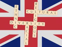 Diversity In The UK: Letter Tiles, 3d illustration With Great Britain Flag. Diversity In The UK Concept: Letter Tiles, 3d illustration With Great Britain Flag royalty free illustration