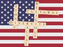 Diversity In The USA: Letter Tiles, 3d illustration With US Flag. Diversity In The USA Concept: Letter Tiles, 3d illustration With US Flag royalty free illustration