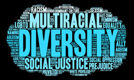 Diversity Word Cloud. On a black background stock illustration