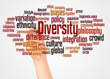 Diversity word cloud and hand with marker concept. On white background royalty free stock photo
