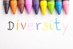 Diversity. The word diversity handwritten by a child, concept of education stock photo