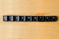 Diversity word. With keyboard buttons stock images