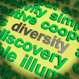 Diversity Word Means Cultural And Ethnic Differences. Diversity Word Meaning Cultural And Ethnic Differences stock illustration