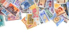 diverso backround de los billetes de banco del dinero fotografía de archivo libre de regalías