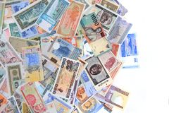 diverso backround de los billetes de banco del dinero foto de archivo