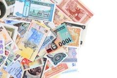 diverso backround de los billetes de banco del dinero foto de archivo libre de regalías