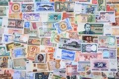 diverso backround de los billetes de banco del dinero imágenes de archivo libres de regalías