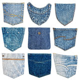 diverso bolsillo de los pantalones vaqueros Imágenes de archivo libres de regalías