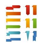 Diverso color señala la colección por medio de una bandera Imágenes de archivo libres de regalías