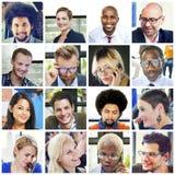 Diverso concetto della gente del gruppo dei fronti del collage Fotografia Stock