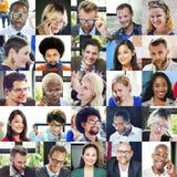 Diverso concetto della gente del gruppo dei fronti del collage Fotografie Stock