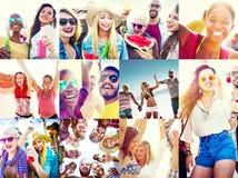Diverso concetto della gente della spiaggia di estate dei fronti del collage Fotografia Stock