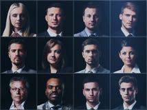 Diverso concetto della gente di espressioni dei fronti del collage Fotografia Stock Libera da Diritti