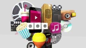 Diverso contenido de estallido del entretenimiento en el teléfono elegante, dispositivo móvil