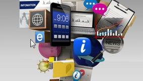 Diverso contenido de información de estallido en el teléfono elegante, dispositivo móvil ilustración del vector