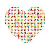 Diverso corazón multicolor de los puntos. Magenta, ciánico, Imagenes de archivo