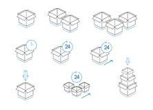 Diverso de las cajas de cartón aisladas en el fondo blanco Foto de archivo libre de regalías