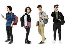Diverso del estudio joven de Set Gesture Standing del estudiante aislado Fotografía de archivo libre de regalías