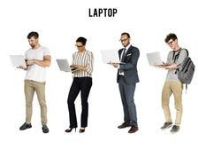 Diverso della gente che usando lo studio del taccuino del computer portatile isolato Fotografia Stock Libera da Diritti