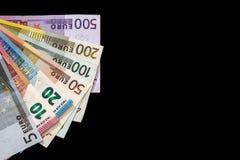 Diverso dinero euro aislado Foto de archivo libre de regalías