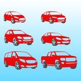 Diverso ejemplo del vector de las siluetas de los coches Fotografía de archivo
