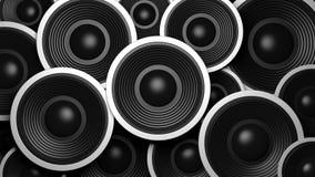 Diverso fondo múltiple de los altavoces del sonido del negro del tamaño ilustración 3D Imágenes de archivo libres de regalías