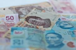 Diverso fondo mexicano del dinero Imagen de archivo libre de regalías