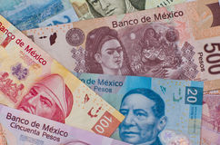 Diverso fondo mexicano del dinero Fotografía de archivo libre de regalías