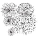Diverso fuego artificial dibujado mano Imágenes de archivo libres de regalías