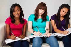 Diverso gruppo di adolescenti che studing Immagine Stock Libera da Diritti