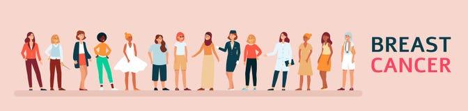 Diverso gruppo di consapevolezza sostenente del cancro al seno della donna illustrazione di stock