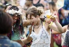 Diverso gruppo di persone che godono di un viaggio stradale e di un festival immagine stock
