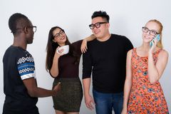 Diverso gruppo felice di multi amici etnici che sorridono insieme whi Immagini Stock Libere da Diritti