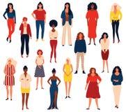 Diverso gruppo internazionale di stare le donne o le ragazze felici Personaggi dei cartoni animati piani isolati su fondo bianco royalty illustrazione gratis
