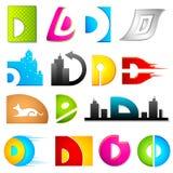 Diverso icono con el alfabeto D Imagenes de archivo