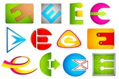 Diverso icono con el alfabeto E Fotos de archivo