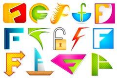Diverso icono con el alfabeto F Imágenes de archivo libres de regalías