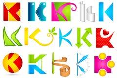 Diverso icono con el alfabeto K Foto de archivo