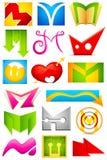 Diverso icono con el alfabeto M Imagenes de archivo