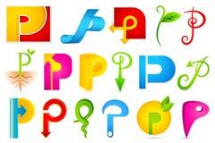 Diverso icono con el alfabeto P Imagenes de archivo