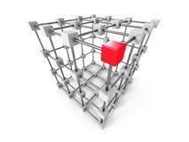 Diverso líder Red Cube Out del grupo Stock de ilustración