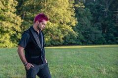 Diverso maschio bianco caucasico con capelli rosa spkiy che osservano giù la terra immagine stock libera da diritti