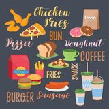Diverso menu do alimento Fotografia de Stock Royalty Free