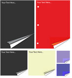 Diverso papel coloreado con el enrollamiento realista de la paginación. Fotos de archivo