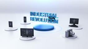 Diverso PC de sobremesa, cámara, dispositivos móviles que conectan tecnología del ` de la REVOLUCIÓN INDUSTRIAL del ` ilustración del vector