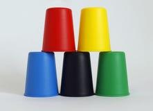 Diverso plástico del color del pote del cubo Imagen de archivo libre de regalías