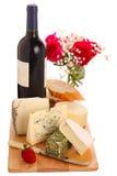 Diverso queso con el vino Imágenes de archivo libres de regalías