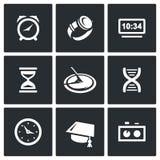 Diverso reloj y un método para determinar los iconos del tiempo fijados Ilustración del vector ilustración del vector