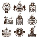 Diverso sistema de etiquetas para el café Imágenes de tazas de habas del café y del cafeína stock de ilustración