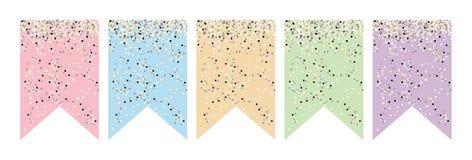 Diverso sistema de la bandera de la bandera del color Hágalo usted mismo Party la decoración Stock de ilustración